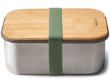 Black + Blum On the Go stainless steel sandwich box - wood lid 1.25L olive